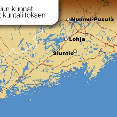 Kartta, jossa kuntaliitoksesta päättäneet Lohja, Nummi-Pusula ja Siuntio.