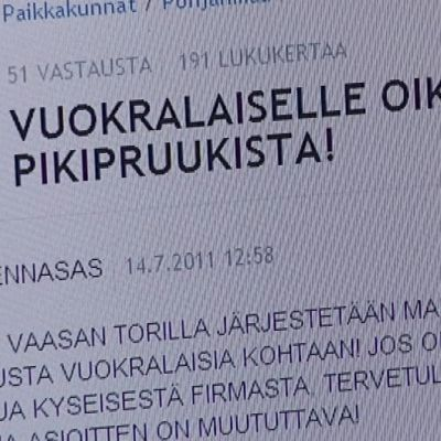 Näyttöruudulta kuva Suomi24 -keskustelupalstan artikkelista koskien Pikipruukkia.