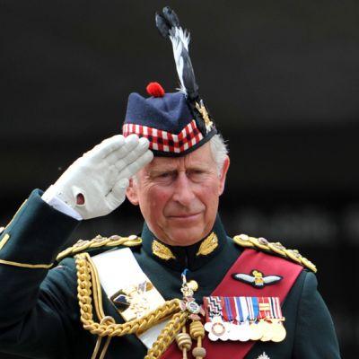 Prinssi Charles tervehtii brittijoukkoja 26. kesäkuuta 2011.