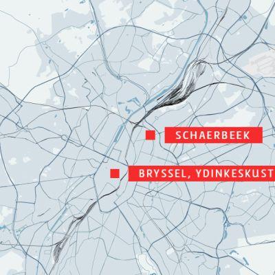 Brysselin kartta, johon on merkitty Schaerbeekin alue.