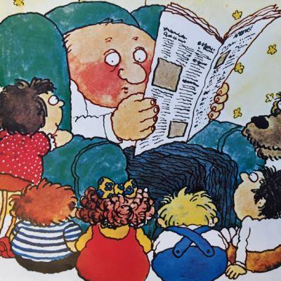 Piirroskuva, jossa mies lukee lehteä lasten ympäröimänä