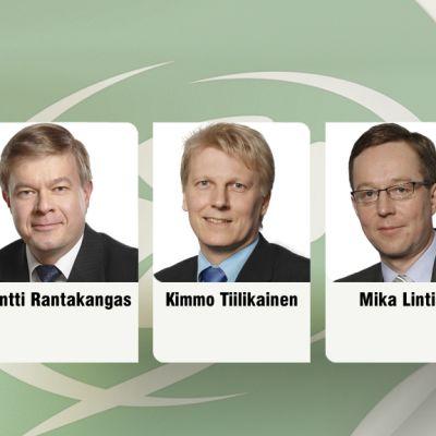 Keskustan ryhmänjohtajaehdokkaat Antti Rantakangas, Kimmo Tiilikainen ja Mika Lintilä.