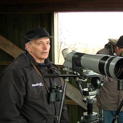Tuomo Puutio tarkkailee muuttolintuja Harjukarin lintutornissa Marinkaisissa.