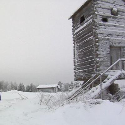 Hillevi Kurtti vieraili Tyrämäen myllyllä tammikuussa 2010. Mylly toimi sodan aikana ilmavalvontatornina.