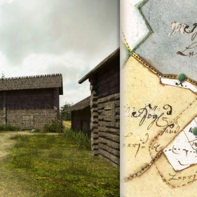 Näkymä 1700-luvun virtuaalikylään.