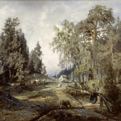 Werner Holmberg Maisema lampaineen (1860). Öljy ja kangas.