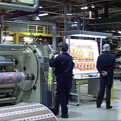 Kuva Amcor Flexibles -tehdassalista vuodelta 2008.
