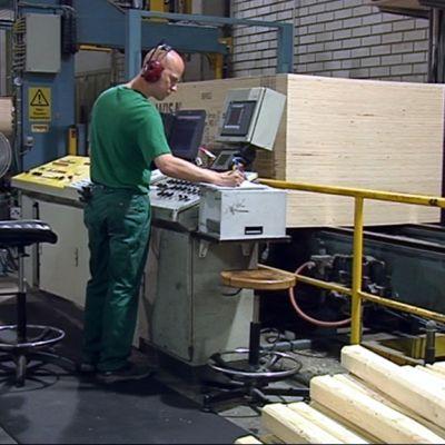 Vanerin valmistusta UPM:n Pelloksen tehtailla Ristiinassa.