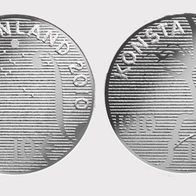 Kuvassa Konsta Jylhän hopeinen juhlaraha molemmin puolin.