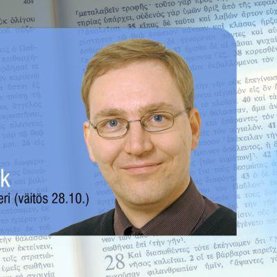 Grafiikka, jossa Timo Flink ja kreikankielistä Raamattua.