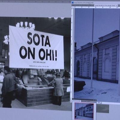 Valokuvien digitointia Porin Taidemuseossa.