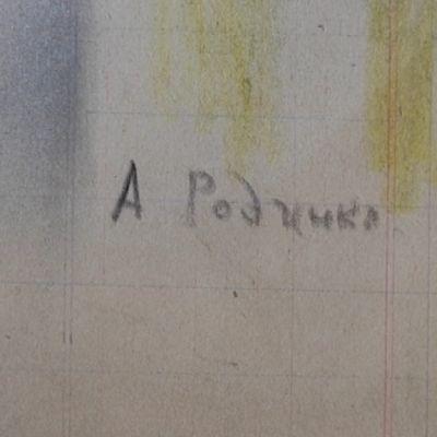 Väärennetty Aleksandr Rodtsenkon nimikirjoitus.