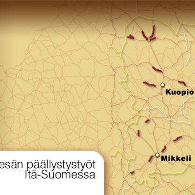 Itä-Suomen päällystystyöt kesällä 2009