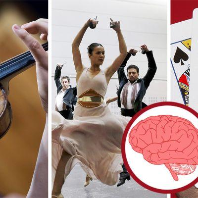 Yhdistelmäkuva, jossa näkyvät viulunsoittajan kädet, baletin harrastajat sekä korttia pelaavan naisen käsi. Kuvan päällä on aivojen piirrossymboli.