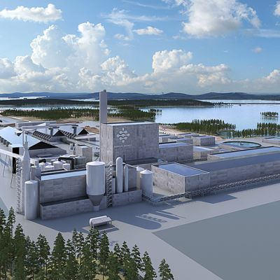Havainnekuva Kemijärven Boreal Bioref -yhtiön suunnittelemasta tehtaasta
