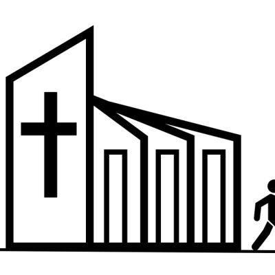 Kirkko, johon menee ihminen sisälle ja kaksi tulee ulos.