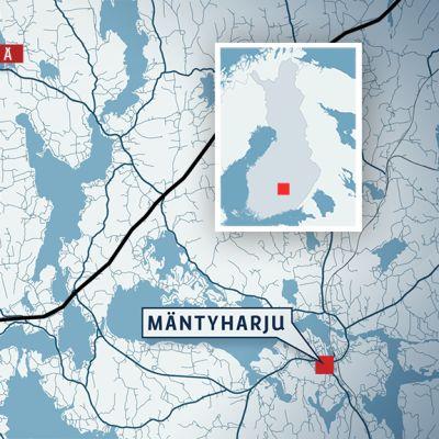 Kartta, jossa Pertunmaan lisäksi Kuortin, Lihavanpään ja Mäntyharjun sijainnit.