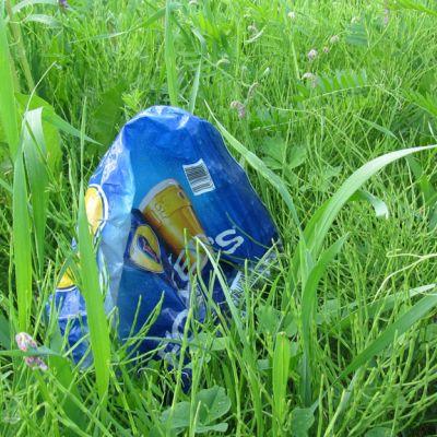 Tyhjä olutpakkaus ruohikossa.