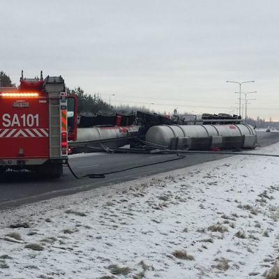 Porissa sattui 12.1.2018 onnettomuus kakkostiellä, kun rikkihapporekka kaatui tielle. Pelastuslaitos tukki säiliöön tulleen pienen vuodon. Liikenne on suljettu useita tunteja.