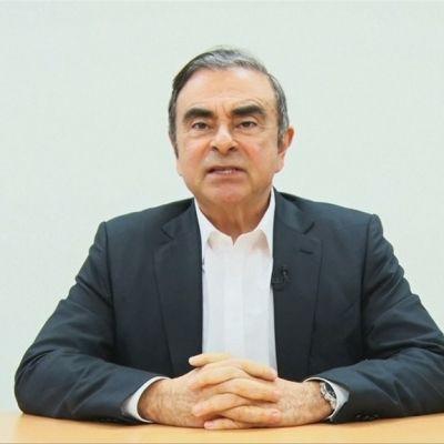 Kuvassa Carlos Ghosn videolla, jonka hänen juristinsa julkistivat Japanissa.