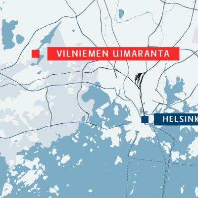 Kartta. Yhdeksänvuotias poika jäi kiinni järven pohjassa olleeseen uistimeen Vilniemen uimarannalla lauantaina.