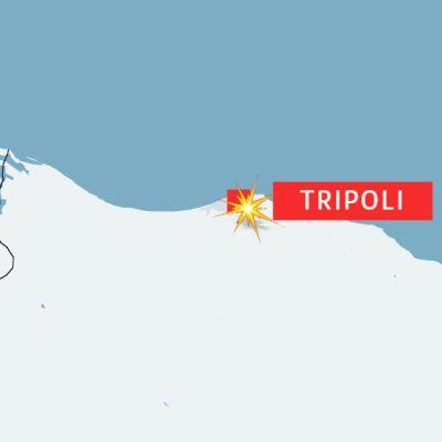 Kartta: Tripolissa tehtiin ilmaisku pidätyskeskukseen.