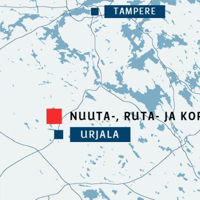Urjalan Nuuta-, Ruta- ja Kortejärven sijainti eteläisellä Pirkanmaalla.