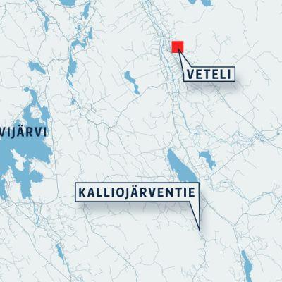 Kartta, johon on merkitty Veteli, Kalliojärventie ja Evijärvi.