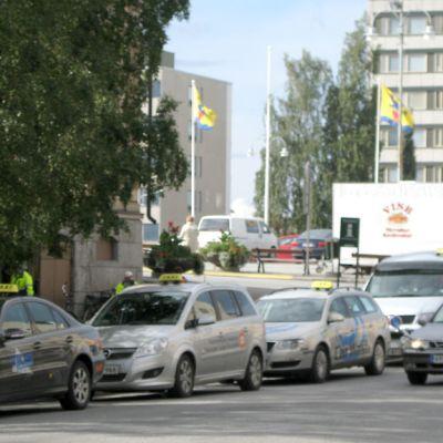 Näkymä keskustan takseista.