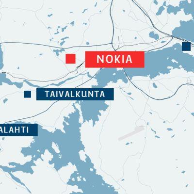 Vahalahti ja Taivalkunta sijaitsevat Nokian keskustan  lounaispuolella.