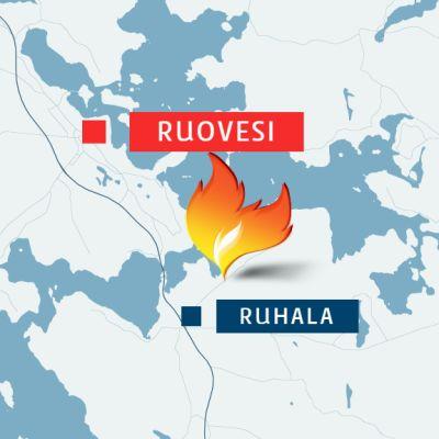 Tulipalo sattui Ruhalan kylässä Ruoveden ,keksustan eteläpuolella.