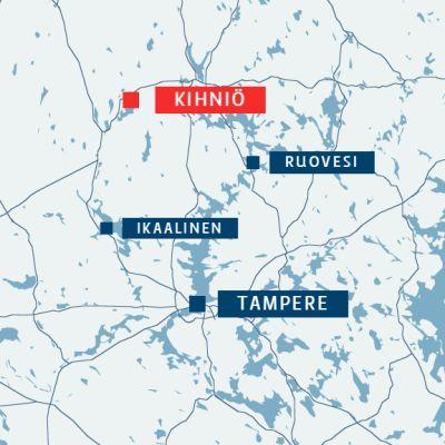 Kihniö sijaitsee Pohjois-Pirkanmaalla noin sadan kilometrin päässä Tampereelta.