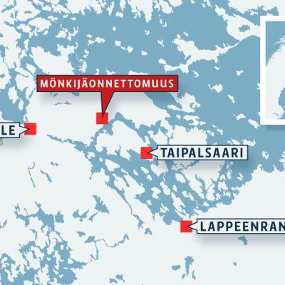 Mönkijäonnettomuus Taipalsaaressa -kartta
