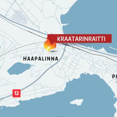 Kartta Kraatarinraitin sijainnista Tampereen Haapalinnassa
