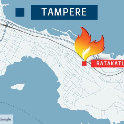 Ratakatu sijaitsee Pispalan valtatien ja rautatien välissä.
