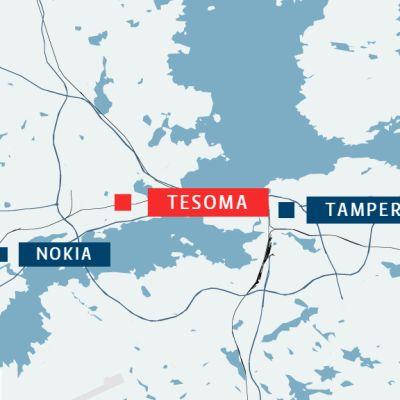 Tesoma sijaitsee suunnilleen Nokian ja Tampereen keskustan puolivälissä.
