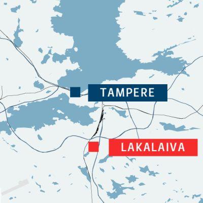 Lakalaiva on Tampereen keskustan eteläpuolella.