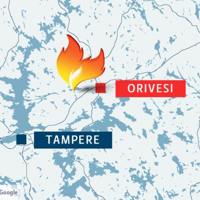 Palopaikka oli Oriveden Jauhonmaalla, noin 10 km keskustasta Tampereelle päin