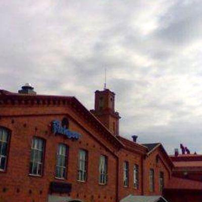 Forssan Finlaysonin punatiilinen tehdasrakennus