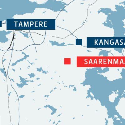 Saarenmaa sijaitsee Kangasalan länsiosassa, lähellä eteläisen Tampereen rajaa ja Ruskoa.