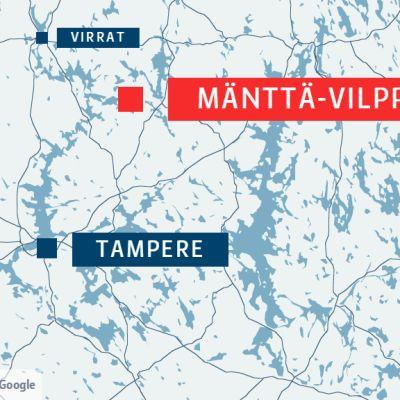 Ulosajo sattui Mäntän ja Vilppulan välillä pohjoisella Pirkanmaalla.