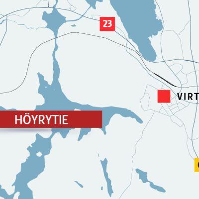 Kartta Höyrytien sijainnista Virroilla