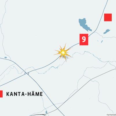 Kartta onnettomuuspaikan sijainnista