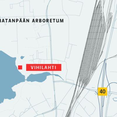 Kartta Vihilahden sijainnista