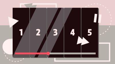 En skärm med siffror, en playsymbol, en paussymbol och en balk som indikerar att något håller på att spelas upp.