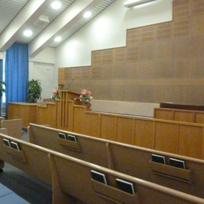 Myöhempien aikojen pyhien Jeesuksen Kristuksen kirkon kappelisali Lappeenrannassa.