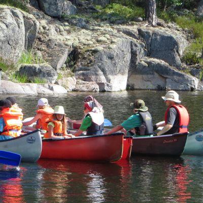 Lasten norppaleirillä opitaan melomaan kanoottia.