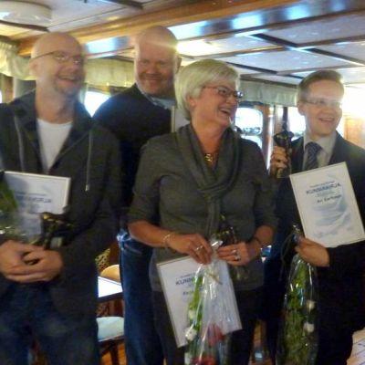 Tässä ovat Turun seudun positiiviseimmat henkilöt vuonna 2012: Henri Nevari, Tom Petäjä, Pirjo Liitola, Ari Korhonen ja Renato Casagrande.