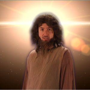 Stradan Ivan Jeesus Kristuksen asuun pukeutuneena, taustallaan taivaallinen valo