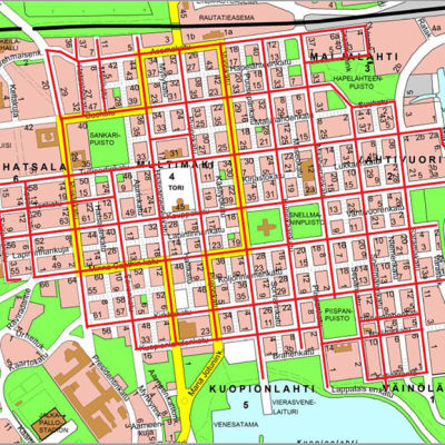 Kartta Kuopion keskustan puhdistettavista kaduista